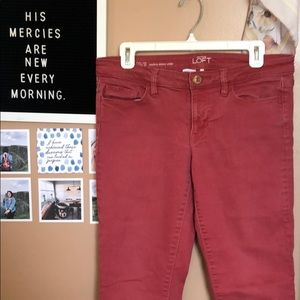 loft red skinny jeans